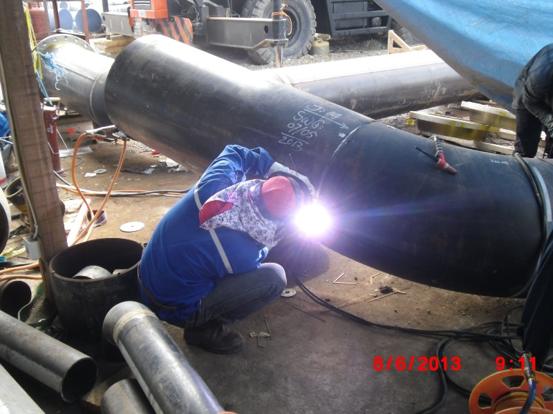 Welding Carbon Steel Piping at workshop PKT-5 Project